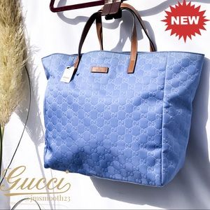 New Gucci shimmer blue tote Retired color
